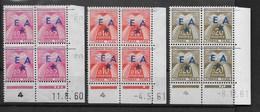 """3Coins-Datés Taxe, Surch. """"EA"""" Bleu D'Ouargla, Type 8-126/7/8B - Algeria (1962-...)"""