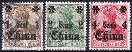 CINA, CHINA, OFFICES IN CHINA, OCCUPAZIONE TEDESCA, GERMAN OCCUPATION, 1905,  USATI Michel 28-30    Scott 37-39 - Bureau: Chine