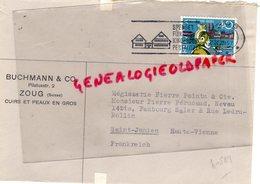 SUISSE - ZOUG-  ENVELOPPE BUCHMANN & CO- PILATUSSTR. 2- CUIRS ET PEAUX- MEGISSERIE PIERRE POINTU SAINT JUNIEN-1957 - Suisse