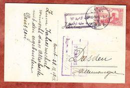 AK Patriotika, Flaggen, EF Rumeli Hisari, Constantinopel Nach Dresden 1915 (50228) - 1858-1921 Empire Ottoman