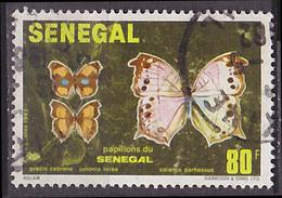 Timbre Oblitéré N° 569(Yvert) Sénégal 1982 - Papillons - Senegal (1960-...)