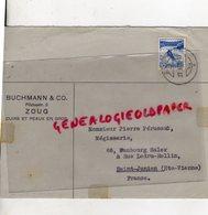 SUISSE - ZOUG- RARE ENVELOPPE BUCHMANN & CO-PILATUSSTR.2- CUIRS ET PEAUX-PIERRE PERUCAUD MEGISSERIE SAINT JUNIEN 1987- - Suisse