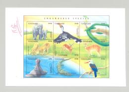 Togo #1726 Endangered Species 1v M/S Of 9 Imperf Chromalin Proof Unissued Colors - Togo (1960-...)
