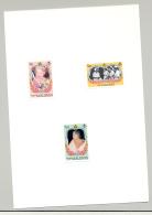 Maldives #1096, 1098-99, 1101 Queen Mother 3v & 1v S/S Imperf Proofs On 2v Cards - Maldives (1965-...)