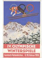 GERMANY Used Olympic Postcard With Olympic Stamp And Olympic Machine Cancel From The Opening Day Of The Games - Winter 1936: Garmisch-Partenkirchen