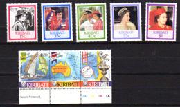 1986    Kiribati, 60°ans  Elisabeth Et Course à La Voile Yv. 149 / 153 Et  163 / 165**,  Cote 11,50 €, - Kiribati (1979-...)
