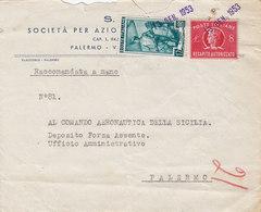 PALERMO  /  Città  - Cover_ Lettera  RACCOMANDATA A MANO - Lire 12 + 8 Recapito Autorizzato  _ 13.12.1953 - 6. 1946-.. Repubblica