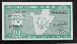 Burundi - 10 Francs - 1-7-2003 - NEUF - Burundi