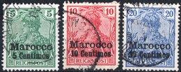 MAROCCO, OFFICES IN MOROCCO, OCCUPAZIONE TEDESCA, GERMAN OCCUPATION, 1905, FRANCOBOLLI USATI Scott 21-23 - Offices: Morocco