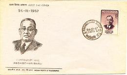 India FDC 26-12-1967 Rashbehari Basu With Cachet - FDC