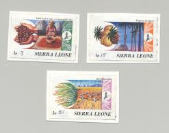 Sierra Leone #967-969 IFAD, Food 3v Imperf Proofs, Hand Written Denomination - Sierra Leone (1961-...)