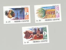 Sierra Leone #967-969 IFAD, Food, Cocoa, Fruit 3v Imperf Proofs - Sierra Leone (1961-...)
