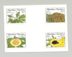 Togo #1366-1369 Food Fruit 4v Imperf Proofs From Set & 1v S/S Unissued - Togo (1960-...)