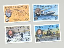 Turks & Caicos #656-659 ICAO, Aviation, DaVinci 4v Imperf Proofs - Turks And Caicos