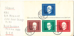Germany Cover Sent To USA  With Mini Sheet Konrad Adenaur Stuttgart 22-5-1968 With Some Stains On The Mini Sheet - [7] République Fédérale