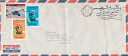 Libya Air Mail Cover Sent To Denmark Tripoli 7-8-1970 Topic Stamps Incl. MAP (light Bended Cover) - Libya