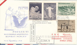 Vatican Registered FDC 2-12-1964 Complete Set Eucharistic Congress Bombay India Wth Cachet - FDC