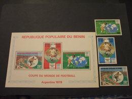 BENIN - 1978 CALCIO 3 VALORI + BF - NUOVI(++) - Benin - Dahomey (1960-...)