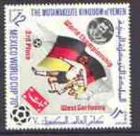 31434 Yemen - Royalist 1970 World Cup Football 12b Value (Germany Mi 982) (perf Diamond Shaped) Opt'd 'World Championshi - 1970 – Mexico