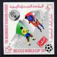 44340 Yemen - Royalist 1970 World Cup Football 12b Value (Italy Mi 984) Imperf Diamond Shaped Unmounted Mint* - World Cup