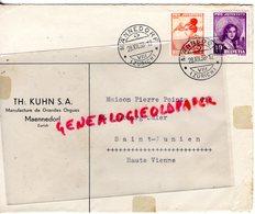 SUISSE - MAENNEDORF- ZURICH-  RARE ENVELOPPE TH. KUHN S.A.MANUFACTURES GRANDES ORGUES-PIERRE POINTU SAINT JUNIEN 87-1938 - Switzerland