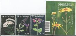 SI 2018-08 FLOWERS, SLOVENIA, 1 X 3v + S/S, MNH - Sonstige