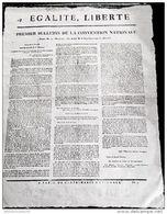 Placard Révolution *PREMIER BULLETIN DE LA CONVENTION NATIONALE*19THERMIDOR AN 2 - Affiches