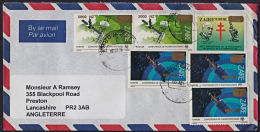 Ca5050 ZAIRE 1996, Surcharge Stamps On Mbuji Mayi 1 Cover To UK With I.10(B) Cancellation - 1990-96: Usados