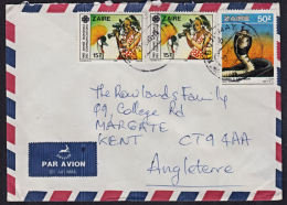 Ca0010 ZAIRE 1989, Telecommunications And Snake Stamps On Mbuji Mayi 1 Cover To UK With I.10(D) Cancellation - Zaire