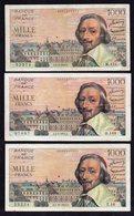 France - Lot De 3 - 1000 Francs Richelieu - 1871-1952 Anciens Francs Circulés Au XXème