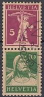 SCHWEIZ  S 13, Gestempelt, Tell + Tellknabe 1927 - Zusammendrucke