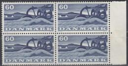 DÄNEMARK 380, 4erBlock, Eckrand, Postfrisch **, Landwirtschaft 1960 - Blocks & Kleinbögen