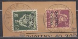 SCHWEIZ Intern. Ämter: SDN 3 + 9, Gestempelt, Auf Briefstück, 1922 - Service