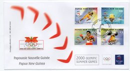 PAPUA NEW GUINEA - OLYMPIC GAMES 2000 FDC / HALTEROPHILIE/WEIGHTLIFTING / BOXING / ATHLETIC / SWIMMING - Papua Nuova Guinea