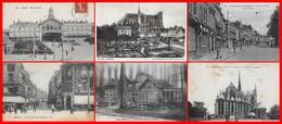 6 CPA (80) AMIENS. Gare Du Nord / La Cathédrale / La Rue De Noyon / La Rue Des Trois Cailloux / Le Pavillon Bleu ...F550 - Amiens