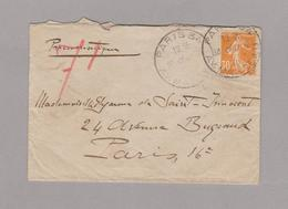 Pneumatique 1910 -cachets Av MARCEAU - Place Victor Hugo  Sur Timbre Semeuse 30ct - Marcofilia (sobres)