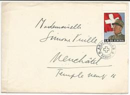 Lettre Militaire Suisse, EM Du Général Guisan - Neuchâtel, Vignette Du Général Guisan (3) - Vignettes