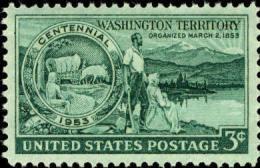 1953 USA Washington Territory Centenary Stamp Sc#1019 Pioneer Flower Mount Ox Cow Lake - Cows