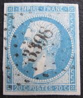 LOT R1752/203 - NAPOLEON III N°14A Bleu Ciel - LUXE - SUPERBE PC 3398 : TOURS (Indre Et Loire) - 1853-1860 Napoleon III