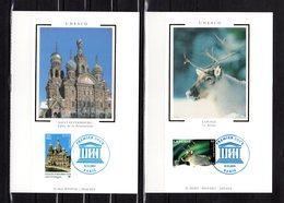 """"""" UNESCO 2003 : RENNE DE LAPONIE / EGLISE ST-PETERSBOURG """" Sur 2 Cartes Maximum En Soie. N°YT Serv 128 129. Parf état CM - 2000-09"""