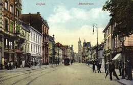 Crefeld Rheinstrasse Tram Commerces Personnages Colorisée Glacée RVBeau Timbre Belge 15c - Krefeld