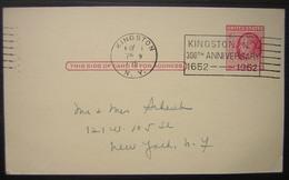 1952 USA Kingston Repiquage  Hôtel Central The Rosenstein Family Oblitération Mécanique 300th Anniversary - 1941-60
