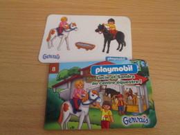 PETIT JEU PUBLICITAIRE GERVAIS PLAYMOBIL N° 8 LUCIE ET SANDRA AU CENTRE EQUESTRE - Playmobil