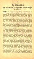 Die Schädlichkeit Der Modernen Lichtquellen Fuer Das Auge / Artikel, Entnommen Aus Kalender / 1907 - Bücher, Zeitschriften, Comics