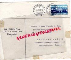 SUISSE - MAENNEDORF-ZURICH-RARE ENVELOPPE TH. KUHN S.A.-MANUFACTURE GRANDES ORGUES-PIERRE POINTU -PERUCAUD-SAINT JUNIEN- - Suisse