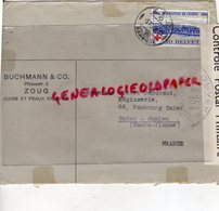 SUISSE - ZOUG-  ENVELOPPE BUCHMANN & CO- PILATUSSTR. 2- CUIRS ET PEAUX- MEGISSERIE PIERRE PERUCAUD-SAINT JUNIEN-1939 - Suisse