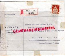 SUISSE - ZURICH- MAENNEDORF TH. KUHN- MANUFACTURE ORGUES- ENVELOPPE POINTU MEGISSERIE PEAUX- SAINT JUNIEN-1940 - Switzerland