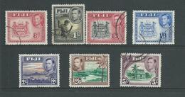 Fiji 1938 - 1955 KGVI Definitives Part Set Of 7 8d Arms -> 5/- Hut FU - Fiji (...-1970)
