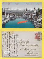 CPA ZURICH Und Die Alpen Timbrée 1911 - ZH Zurich