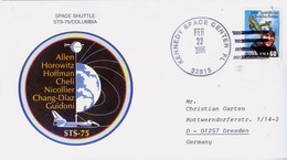 1996 USA  Space Shuttle Columbia  STS-75 Commemorative Cover - FDC & Commemoratives